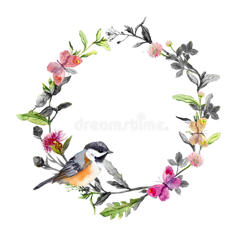 Free Border Wreath - Bird, Meadow Flowers, Butterflies. Black White Watercolor Circle Stock Photography - 75846972