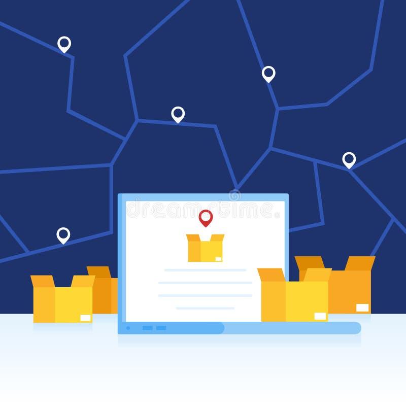 Bordereaux de livraison et cargaison de cheminement sur un ordinateur portable L'ordinateur portable et les boîtes sur le fond d' illustration libre de droits
