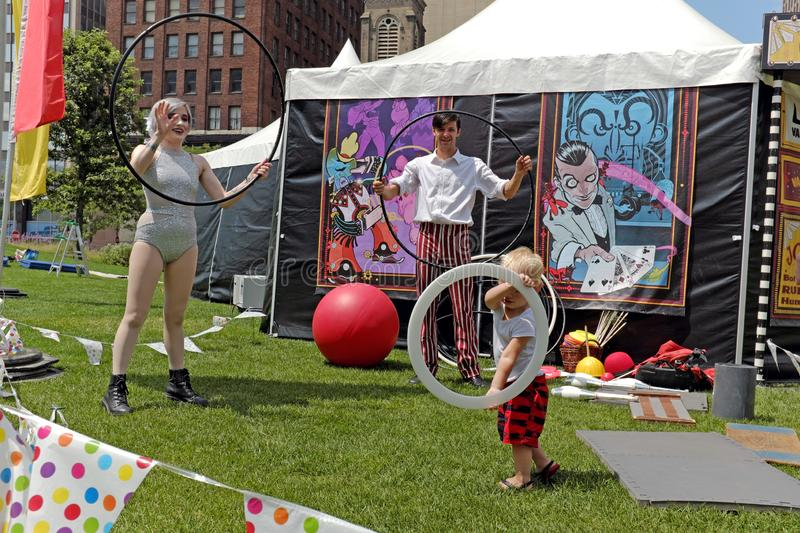 2019 Borderlight International Theatre and Fringe Festival in Cleveland, Ohio, USA. A troupe performing during the 2019 Borderlight International Theatre and royalty free stock image