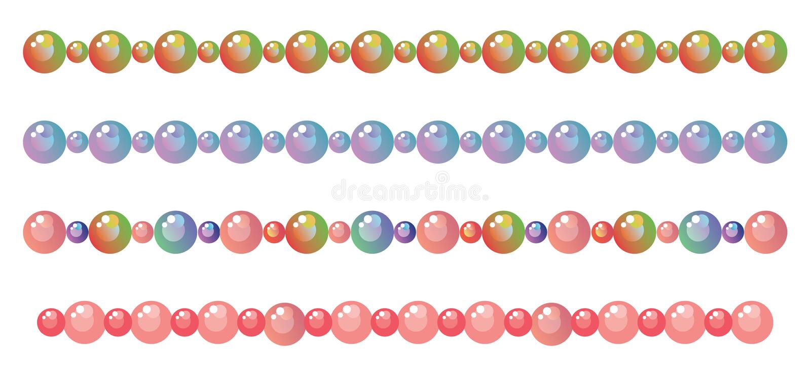 Borders from beads. Decorative vector borders from beads stock illustration