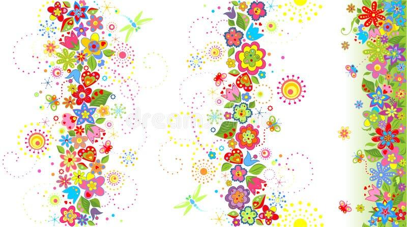 borders blom- seamless royaltyfri illustrationer