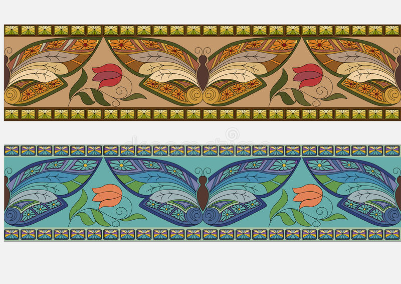 Borders with butterflys royalty free illustration