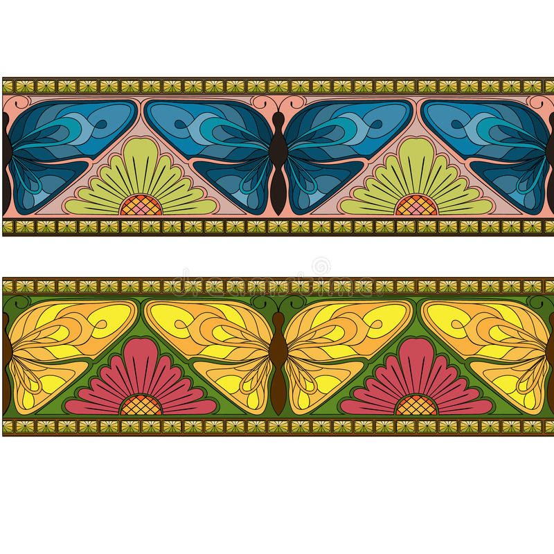 Borders with butterflys vector illustration