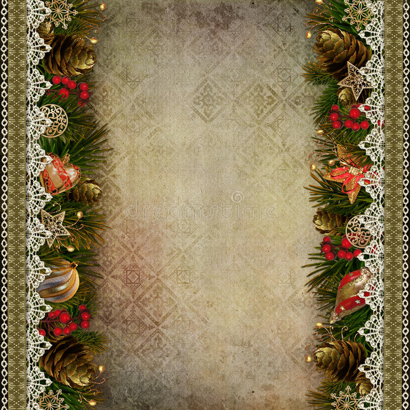 Borders of Christmas decorations with lace on vintage background royalty free illustration