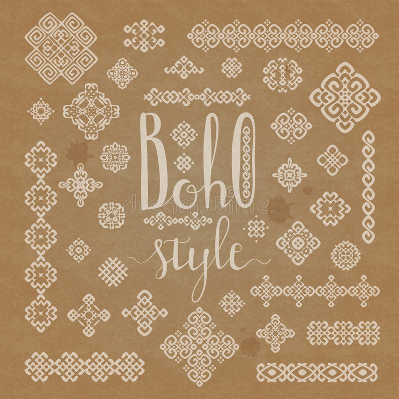 Borders and decoration ethnic signs with Boho style hand drawn lettering on craft paper texture. Border and decoration ethnic signs set with Boho style hand stock illustration