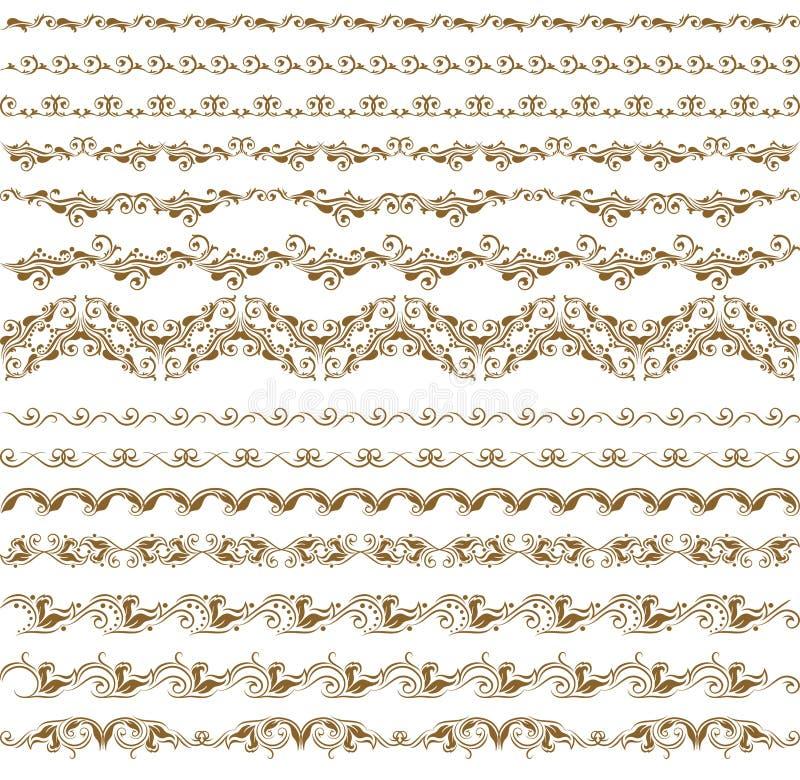 borders den dekorativa vektorn för elementseten vektor illustrationer