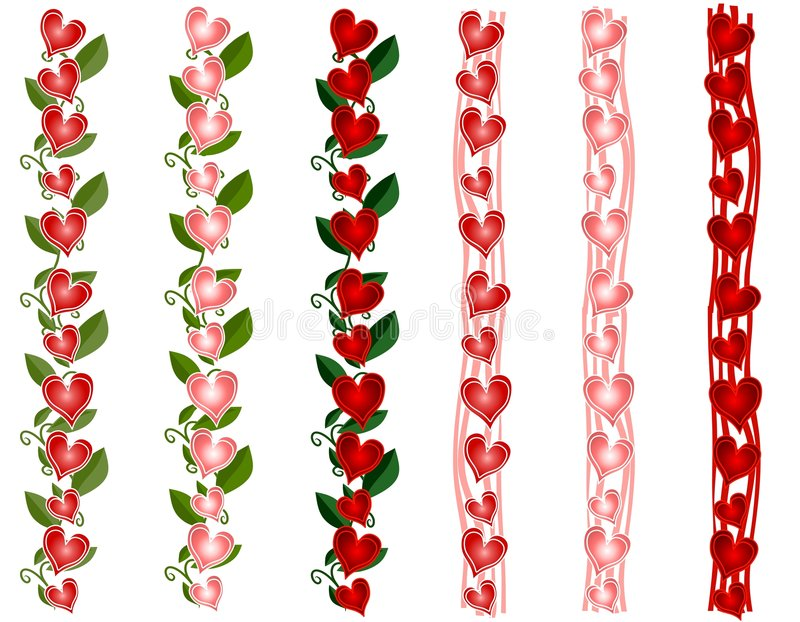 borders den olika valentinen för daghjärta s stock illustrationer