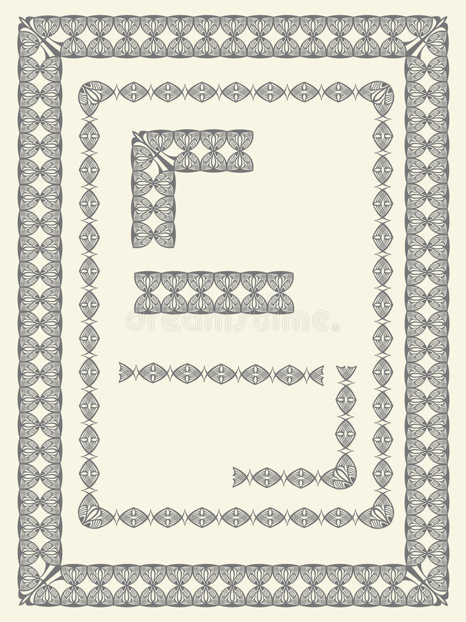 borders elementramen royaltyfri illustrationer