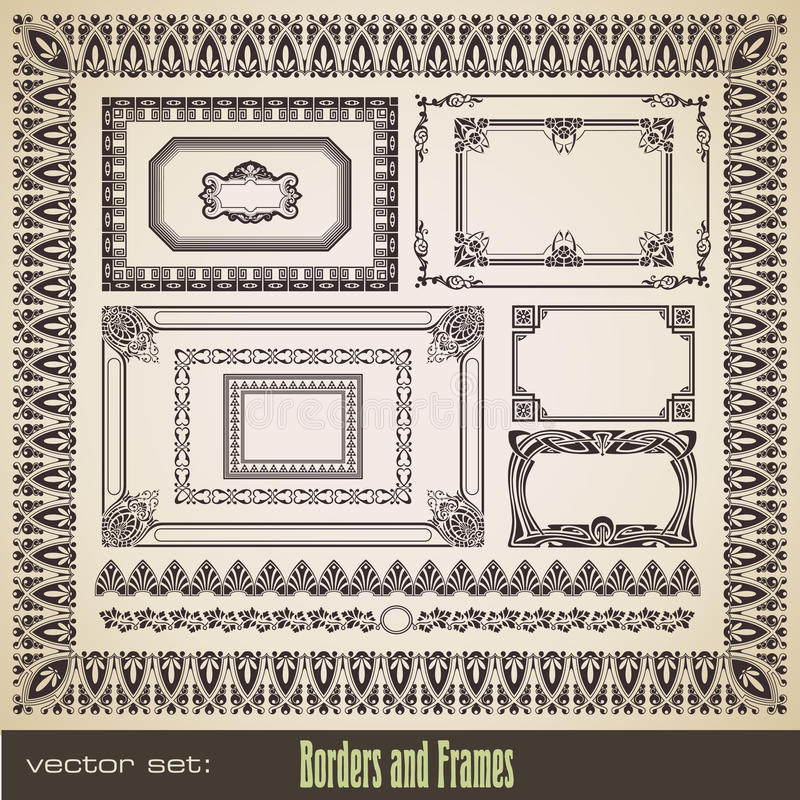 Download Borders and frames set stock vector. Image of background - 14112001