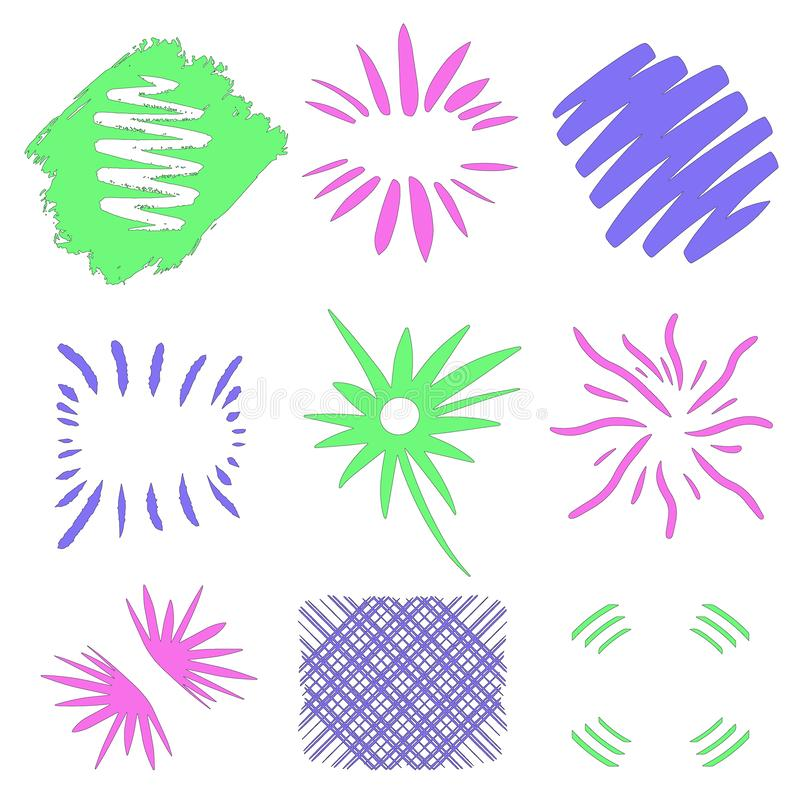 Borders and frames. Sun bursts. Handdrawn design elements by ink, pen. Vector art. Pink blue green illustration isolated on white. stock illustration