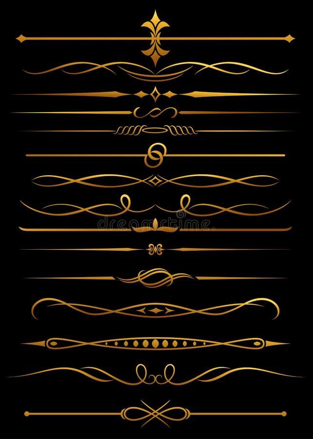borders guld- avdelare stock illustrationer