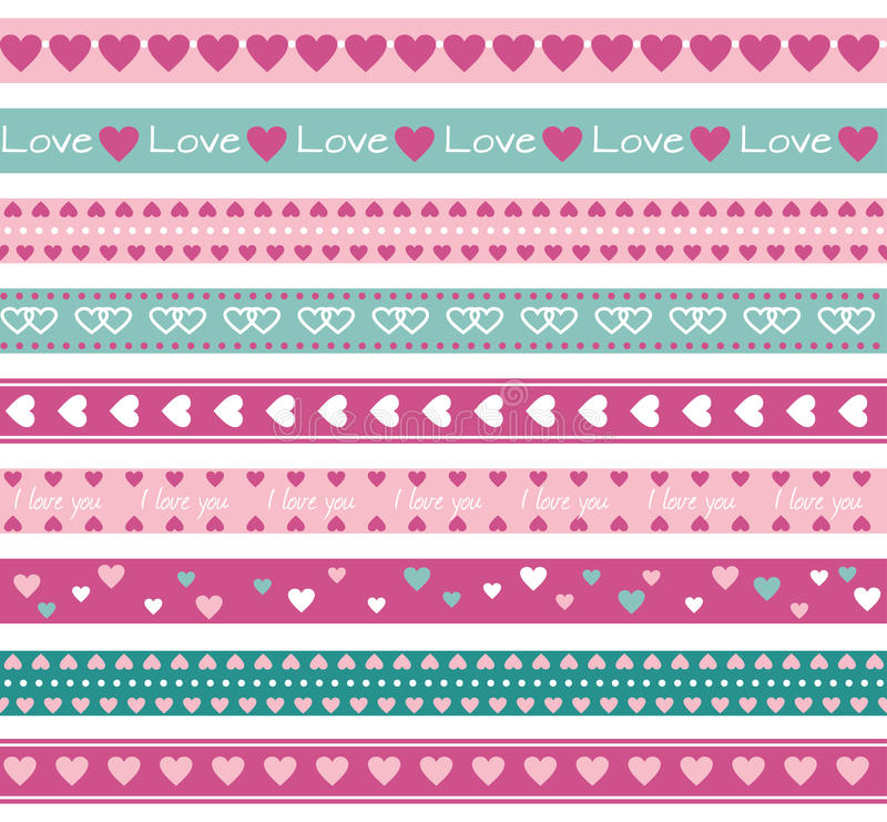 Borders with hearts. Seamless funny borders with hearts vector illustration