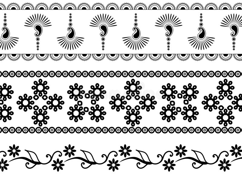 borders henna stock illustrationer