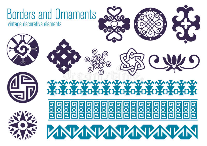 Borders and Ornaments. Vintage decorative elements