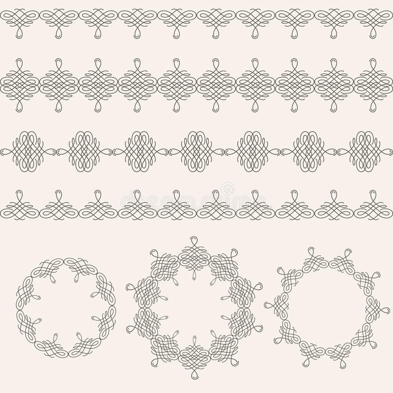 Borders and round frames set collection in calligraphic retro style on beige background. stock illustration