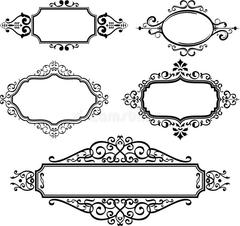 borders utsmyckat royaltyfri illustrationer