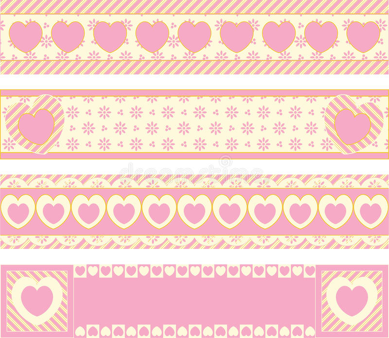 Borders With Victorian Eyelet Hearts and Stripes stock images