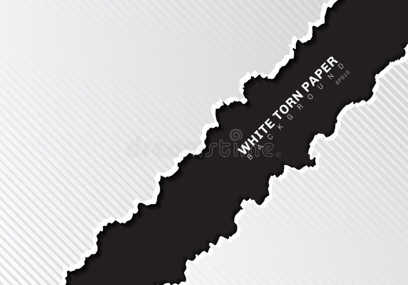 Bordes de papel rasgados blancos con las líneas diagonales textura de la sombra y del modelo en fondo negro con el espacio de la  ilustración del vector