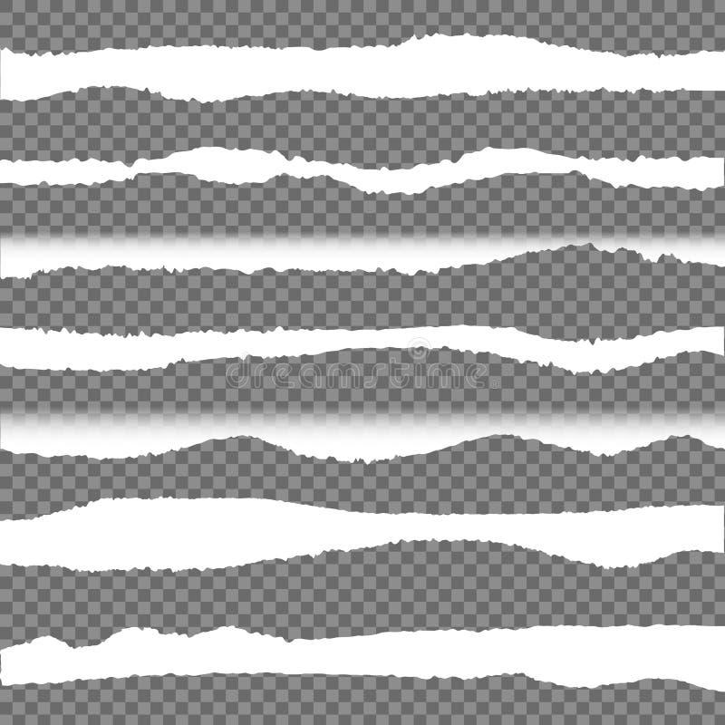 Bordes de papel rasgados vector, sistema de elementos del diseño fotografía de archivo libre de regalías