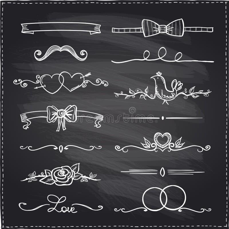 Bordhand getrokken grafische elementen vector illustratie