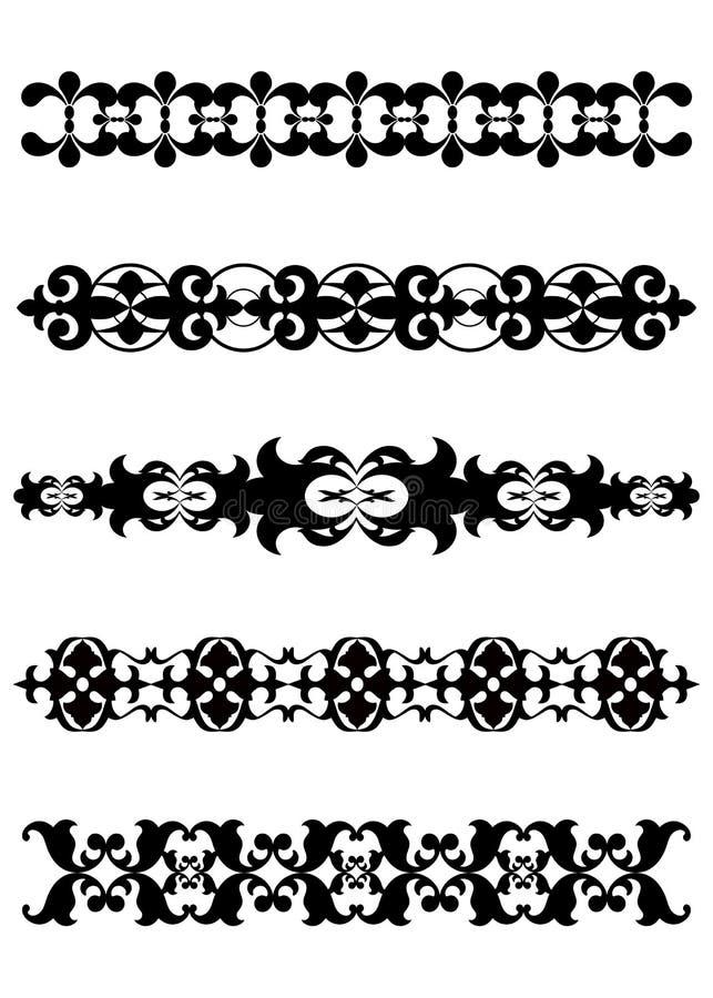 Bordi decorativi neri dei divisori illustrazione di stock for Bordi decorativi