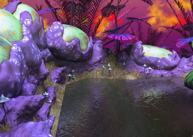 Download Bordi Del Lago Fantasy Dalle Piante E Dalle Uova Dispari Illustrazione di Stock - Illustrazione di nave, colore: 117979616