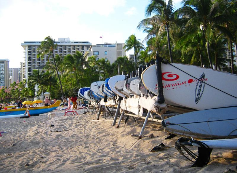 Bordi di spuma su Waikiki fotografia stock libera da diritti