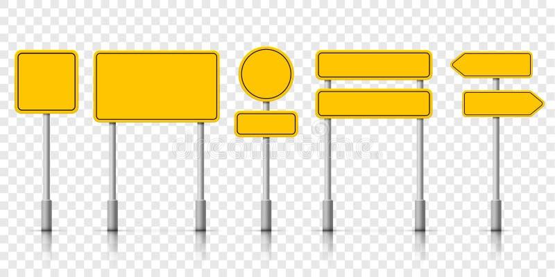 Bordi gialli del segnale stradale della via Avviso attento del roadsign di vettore illustrazione vettoriale