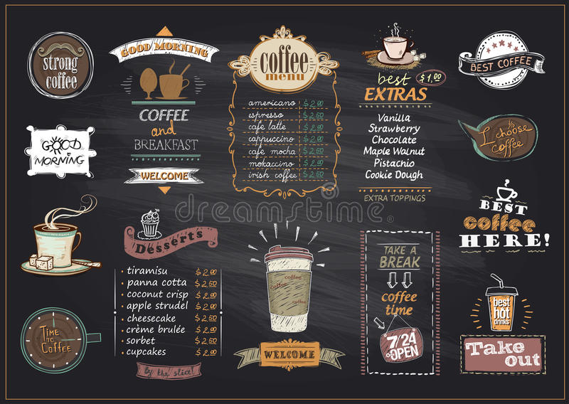 Bordkoffie en van het dessertsmenu lijstontwerpen voor koffie of restaurant worden geplaatst dat stock illustratie