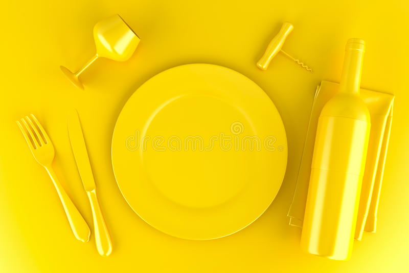 Bordlägga inställningen med plattan, vinexponeringsglas, vinflaskan och korkskruvet stock illustrationer