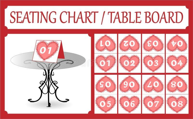 Bordlägga nummerkortsamlingen som placerar diagrammet, smidet, hjärtor royaltyfri illustrationer