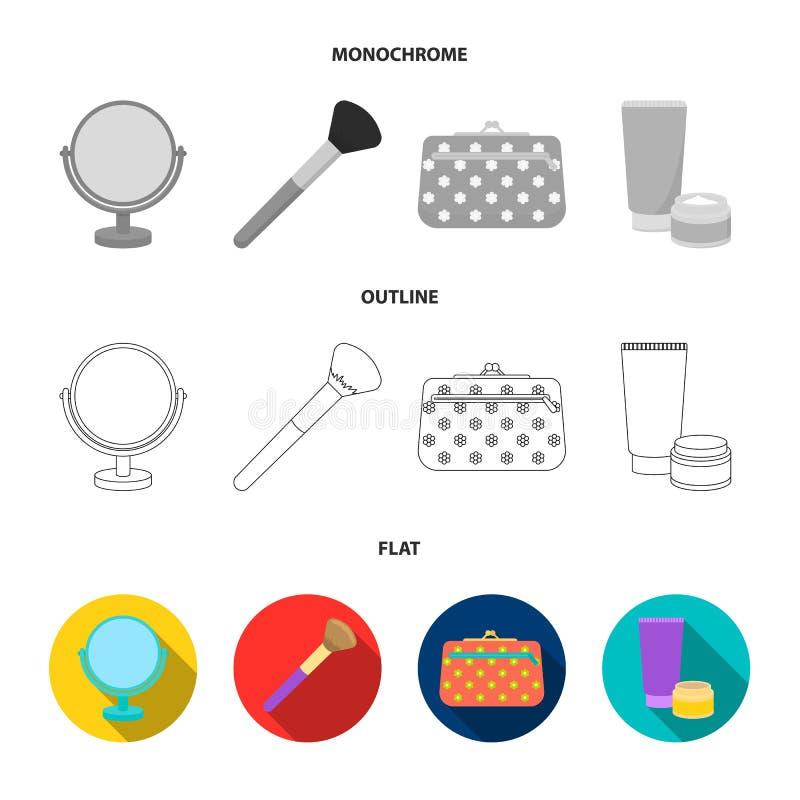 Bordlägga spegeln, den kosmetiska påsen, framsidaborsten, kroppkräm Fastställda samlingssymboler för makeup i lägenheten, översik royaltyfri illustrationer
