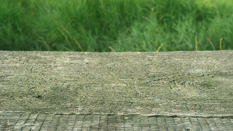Bordo anziano di legno come aereo decorativo con spazio vuoto con un fondo di erba verde fotografia stock