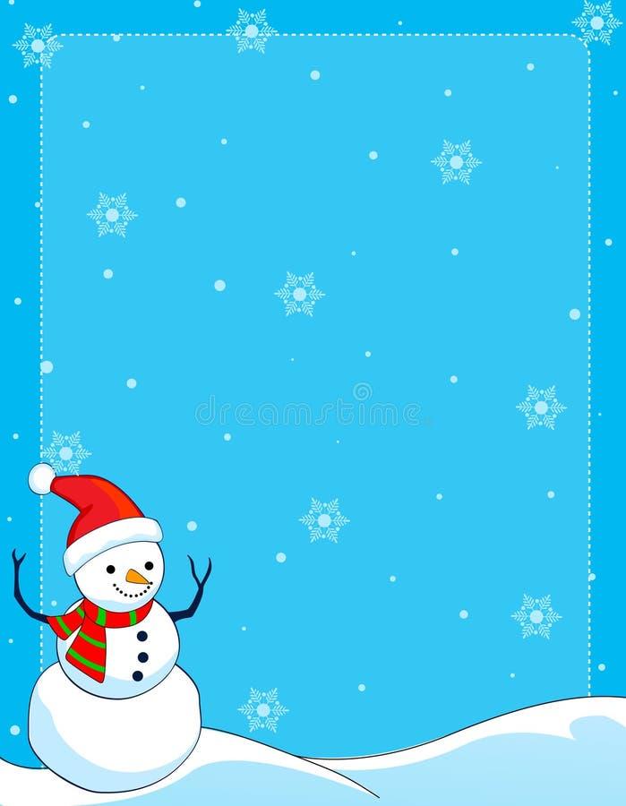 Bordo /background del pupazzo di neve illustrazione di stock
