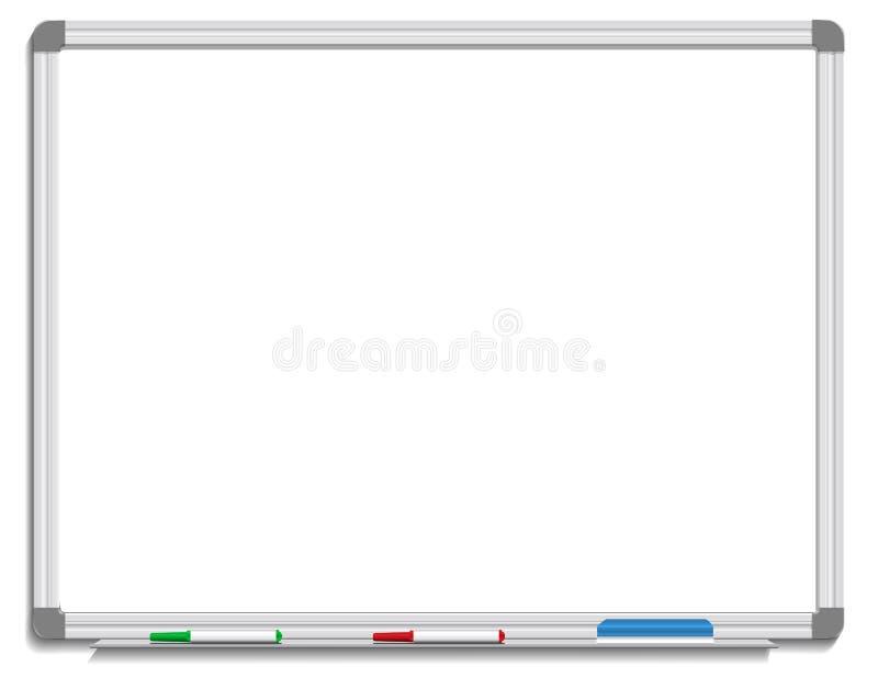Bordo bianco con i creatori e la gomma colorati illustrazione di stock