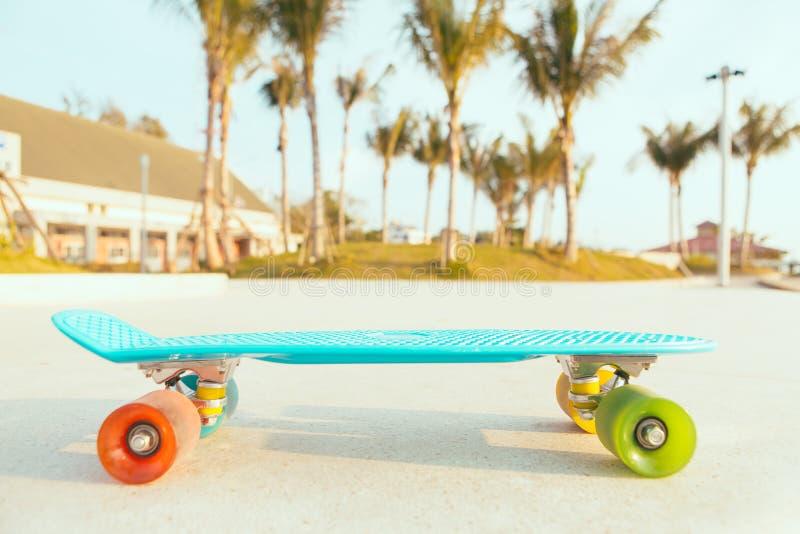 Bordo blu-chiaro del penny di longboard con le ruote multicolori pronte immagini stock libere da diritti