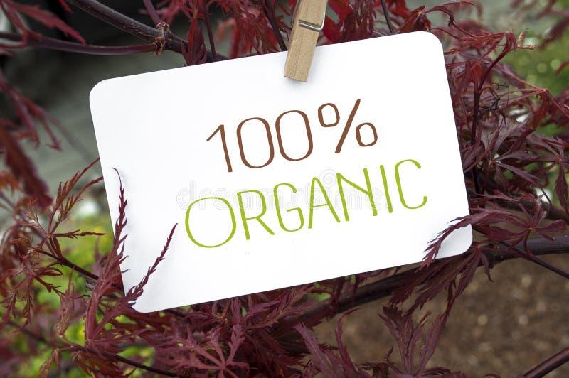 Bordo com placa de cartão e 100% orgânico imagens de stock