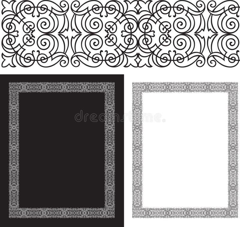 Bordo complicato e decorato nero royalty illustrazione gratis