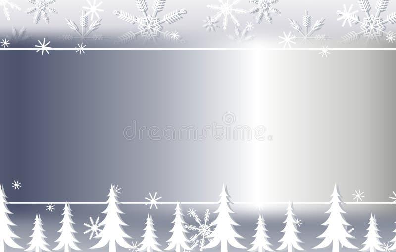 Bordo d'argento 2 della priorità bassa degli alberi e del fiocco di neve illustrazione di stock