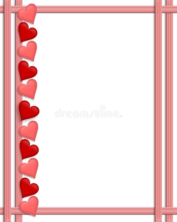 Bordo dei cuori di giorno dei biglietti di S. Valentino illustrazione vettoriale