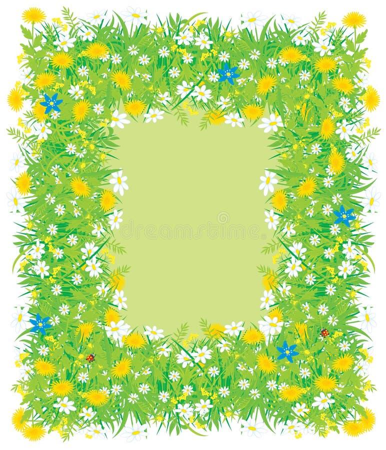 Bordo dei fiori e dell'erba royalty illustrazione gratis