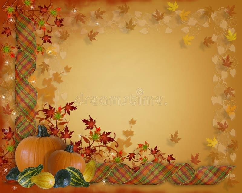 Bordo dei nastri di caduta di autunno di ringraziamento illustrazione di stock