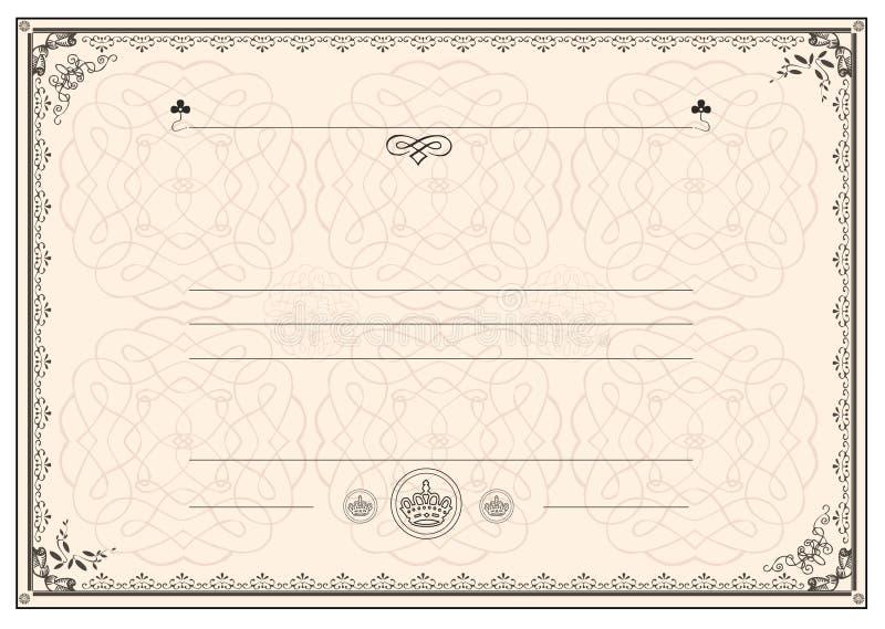 Bordo del blocco per grafici del certificato royalty illustrazione gratis