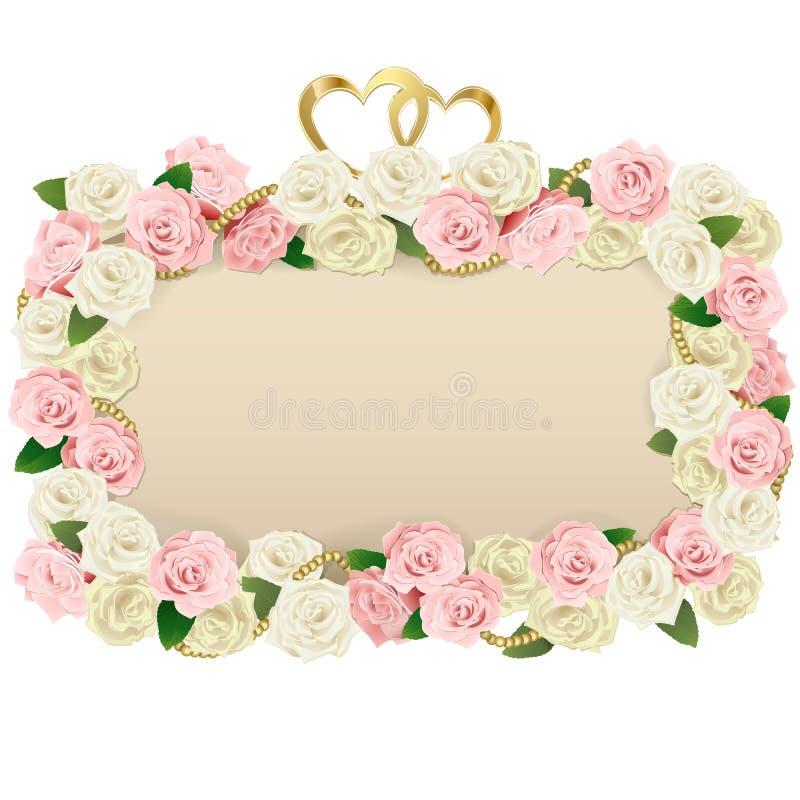 Bordo del fiore di nozze di vettore illustrazione di stock