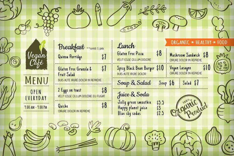 Bordo del menu del ristorante del vegano dell'alimento biologico o modello del placemat royalty illustrazione gratis