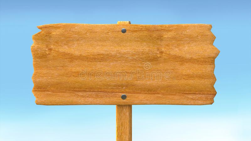 Bordo del segno e fondo in bianco vuoti di legno del cielo blu illustrazione vettoriale
