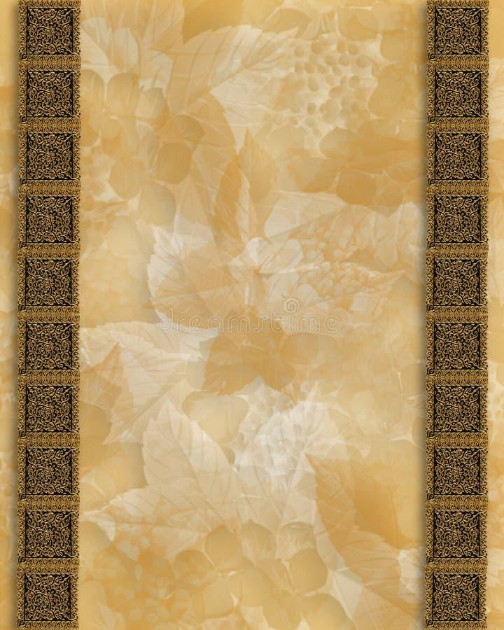 Bordo dell'oro su priorità bassa floreale royalty illustrazione gratis