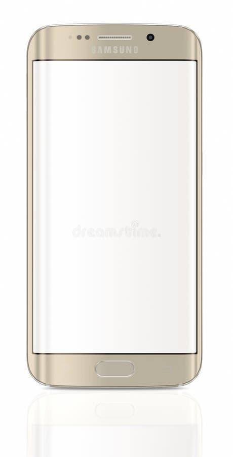 Bordo della galassia S6 di Samsung del platino dell'oro con lo schermo in bianco illustrazione di stock