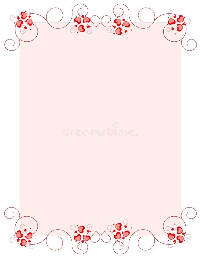 Bordo della priorità bassa di giorno del biglietto di S. Valentino rosso dei cuori royalty illustrazione gratis