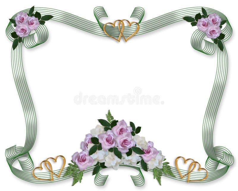 Bordo delle rose dell'invito di cerimonia nuziale royalty illustrazione gratis